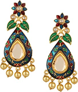 Indian Bollywood 14K Gold Plated Crystal Kundan Pearl Leaf Floral Chandelier Dangle Earrings Jewelry Set