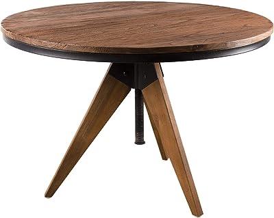 MACABANE Table d'appoint Ronde 70x70cm Teck recyclé et métal, 74 x 74 x 18