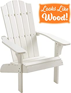 PolyTEAK Element Faux Wood Poly Adirondack Chair, White | Adult-Size, Weather Resistant, Made from Plastic