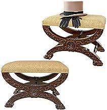 Design Toscano Renaissance Curulis Ottoman Stool: Set of Two, Walnut