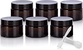 1 oz / 30 ml Amber Glass Thick Wall Balm Container Jars with Black Smooth Foam Lined Lids (6 Pack)