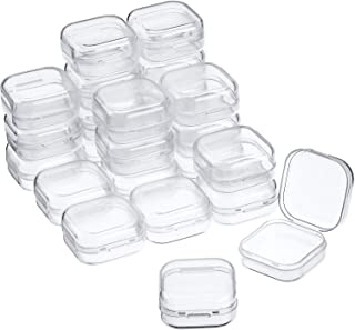 24 Packs Small Clear Plastic Beads Storage Containers Box with Hinged Lid for Storage of Small Items, Crafts, Jewelry, Hardware (1.37 x 1.37 x 0.7 Inches)