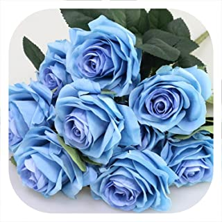 Memoirs- Artificial Silk 1 Bunch French Rose Floral Bouquet Fake Flower Arrange Table Daisy Wedding Flowers Decor Party Accessory Flores,Dark Blue