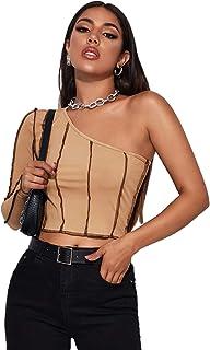 SheIn Women's One Shoulder Long Sleeve Tee Stitch Rib Knit Crop Tops T Shirts
