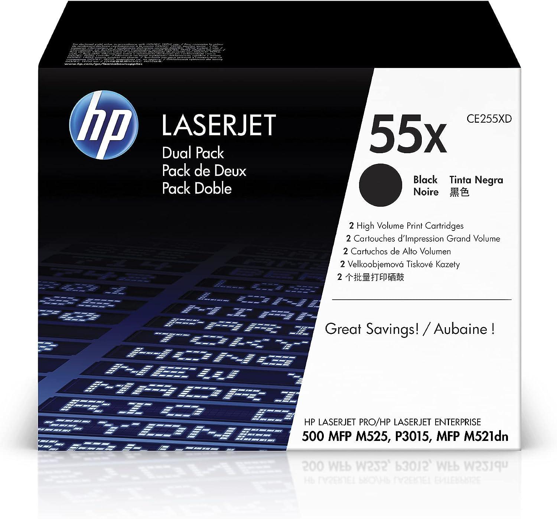HP 55X | CE255XD | 2 Toner-Cartridges | Black | Works with HP LaserJet Enterprise 525, P3015, HP LaserJet Pro M521 | High Yield