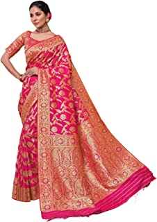 Royal party wedding south indian woman pink Bridal Silk Saree border & Rich Pallu Sari Blouse 6304