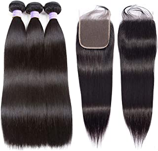AMZTMY Brazilian Straight Hair 3 Bundles with Closure 100% Unprocessed Virgin Human Hair Bundles with 5×5 Lace Closure Remy Hair Weave Extensions Natural Color (10 12 14+10 Closure)