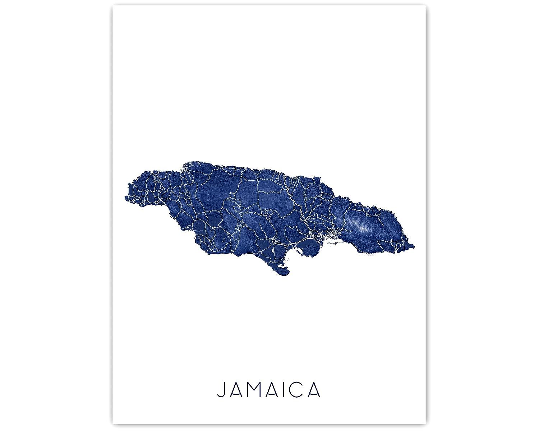 Jamaica discount Map of Print 24x36 8x10 Sale SALE% OFF Poster Handmad