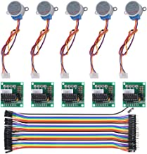ALMOCN 5PCS 5V 28BYJ-48 ULN2003 Stepper Motor + 5PCS ULN2003 Driver Board +20cm 40pin Male to Female Dupont Wire for Arduino