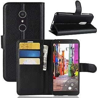 Alcatel1C Wallet Case,IVY PU Leather Flip Case with Fingerprint Hole Wallet Phone Folio Cover [Litchi Grain] for Alcatel 1C 2019 - Black