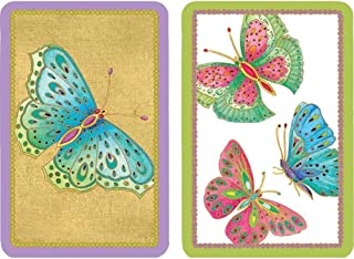Caspari Jeweled Butterflies Large Type Playing Cards - 2 Decks Included