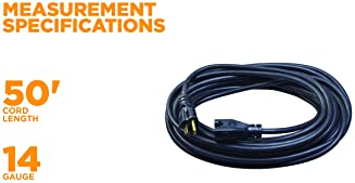 Woods 982452 50-Foot SJTOW Agricultural Outdoor Heavy Duty All- Weather Extension Cord, Oil Resistant Vinyl Jacket, V...