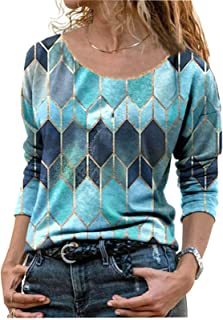 zxb-shop Long Sleeve T Shirts for Women Teen Girls Color Block Casual Blouses Crew Neck Pullover Tops Tunic Tops Tee