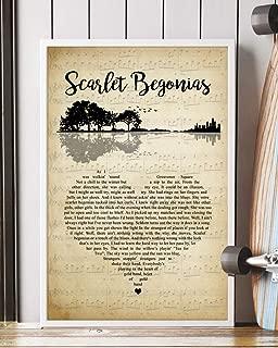 Trendora Decor Scarlet Begonias Song Lyrics Guitar Heart Vintage Portrait Poster Print (16