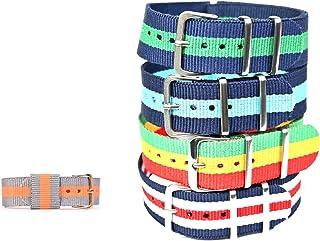 EVERWOL- Bracelet de Montre NATO/Bracelet de Montre NATO en Tissu Couleur/Boucle en Acier Inoxydable/Lot de 4 Bracelets de...