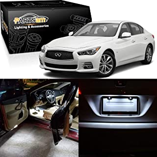 Partsam LED Interior Package Light Kits + Tag Lights Compatible with Infiniti Q50 2014 2015 (10 Pieces/White)