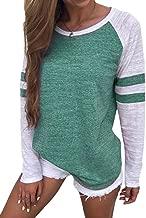 Famulily Women's Long Sleeve Baseball Tee Shirt Crew Neck Colorblock Striped Tops