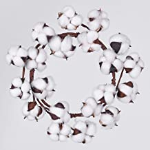 "Lvydec Mini-Sized Cotton Wreath Decor - 10"" Adjustable Cotton Stems Wreath with Full Cotton Bolls for Farmhouse Decor Fron..."