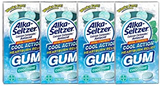 Alka Seltzer Extra Strength Cool Action Heartburn Relief Gum, Cool Mint – 64 Count (4 Packs of 16 Pieces Each)