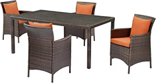 Contemporary Modern Outdoor Patio Furniture Dining Chair and Table Set, Rattan Wicker, Brown Orange