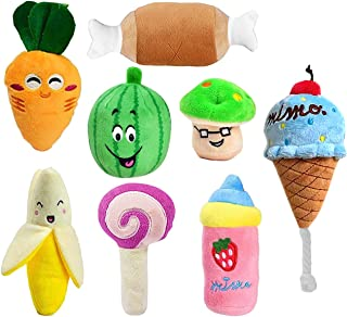 Malier 8 Pack Plush Toys Puppies Pet Squeaky Plush Chew Toys Small Dogs Puppies