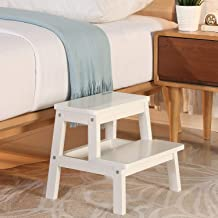 HOUCHICS 2 Steps Stool Wood Countertops Stool, Multipurpose Stepladder Stool for Bedroom/Bathroom/Toilet/Kitchen etc. with Safety Non-Slip Pads (White)