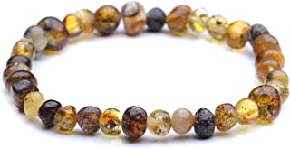 Polished Baltic Amber Bracelet for Adult - Men and Women - Choose your color and choose your size! - Genuine Baltic Amber