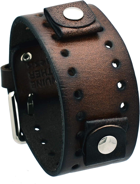 Nemesis BN-BB Dark Brown Wide Leather Cuff Wrist Watch Band