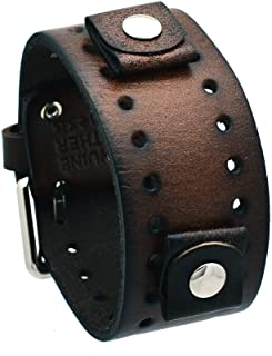 Nemesis #BN-BB Dark Brown Wide Leather Cuff Wrist Watch Band