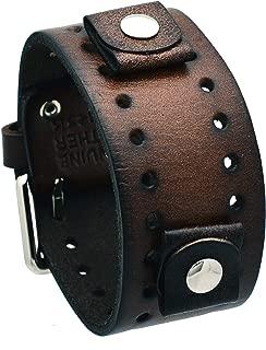 Nemesis #BN-BB Dark Brown Wide Leather Cuff Wrist Watch Band