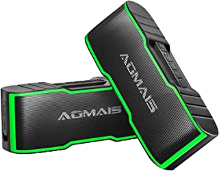 [2-Pack] AOMAIS Sport II Mini Portable Bluetooth Speakers - Dual Stereo Pairing Wireless Speaker, 20W HD Sound and Rich Bass, 15H Playtime, IPX5 Waterproof Speaker for Travel, Beach, Shower (Green)