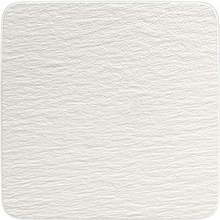 Villeroy & Boch Manufacture Rock Cuadrado/Gourmet Lujoso Plato Universal Porcelana Premium, Blanco