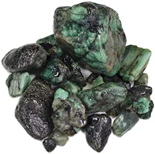 Hypnotic Gems 1 lb Bulk Emerald Rough from Brazil - Natural Raw Stones & Fountain Rocks for Tumbling, Cabbing, Polishing, Wire Wrapping, Wicca & Reiki Crystal Healing