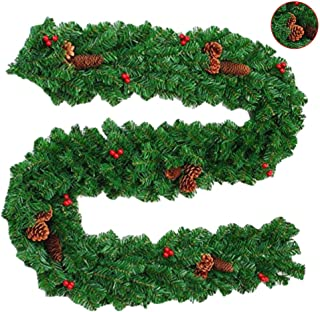 skyfiree 9 Foot Christmas Garland for Stairs Christmas Decoration Artificial with Red Berries Pine Cones Green Christmas Garland for Outdoor Window Holiday Decor