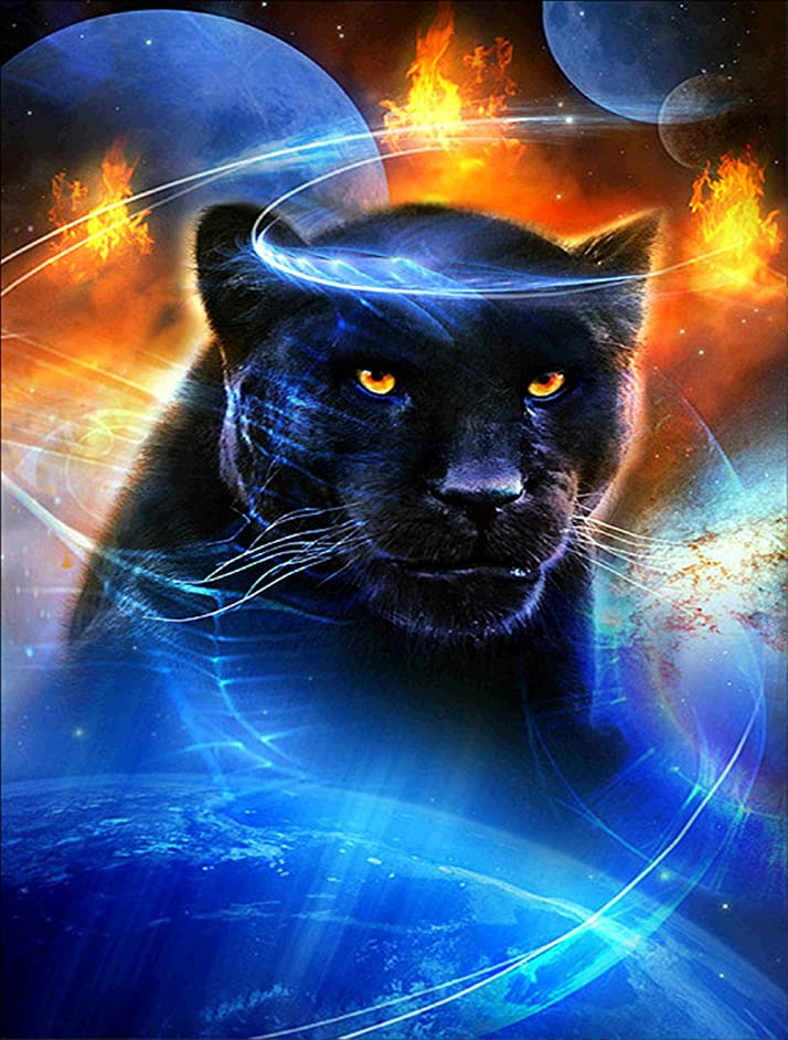 5D DIY Diamond Painting Set Decorating Cabinet Table Stickers Crystal Rhinestone Diamond Embroidery Paintings Pictures for Study Room,Black Panther(30X40CM/14X16inch)