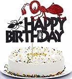 Qerleny black ant cake topper ant theme happy birthday cake decoration ant theme children's party decoration