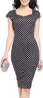 Women's Summer Cap Sleeve Floral Print Knee Length Bodycon Office Sheath Dress