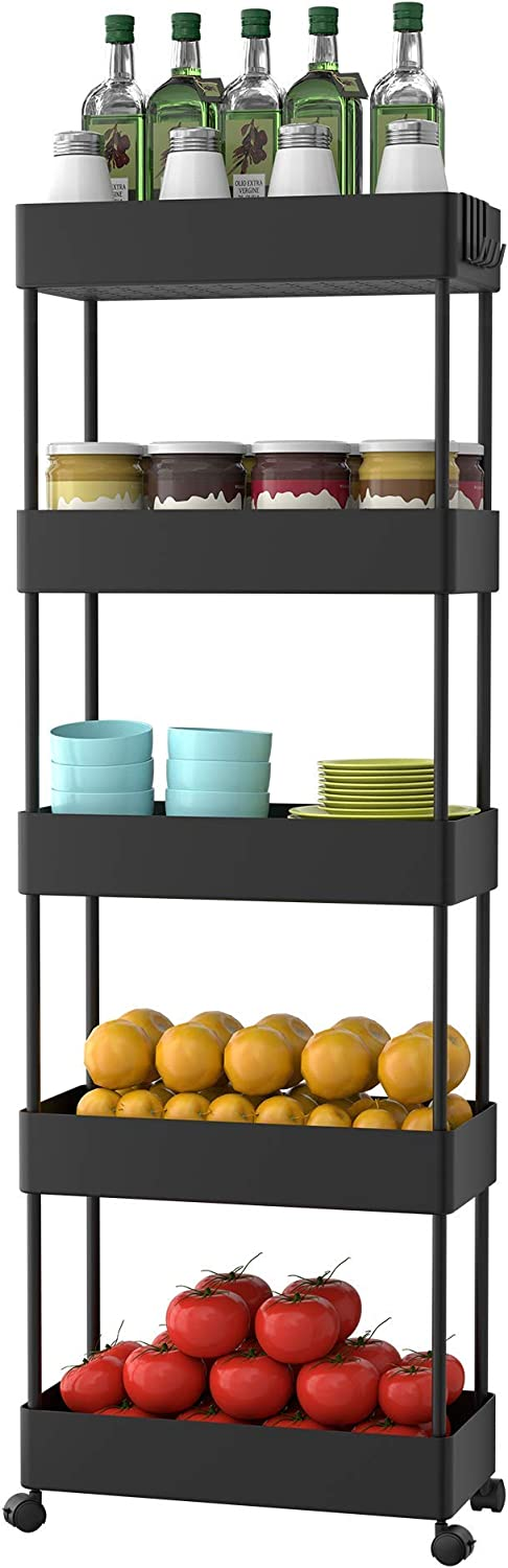 SOGA Life 5 Tier Slide Out New Regular store products world's highest quality popular Slim for Storage Rolling cart Kitchen