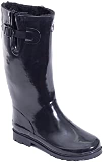 Forever Young Women's Warm Faux Fur Lined Rubber Rain Boots