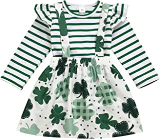 Baby Girl 's Skirt Suit, Toddler Sweet Stripe Long Sleeve T-Shirt and Clover Pattern Suspender Skirt