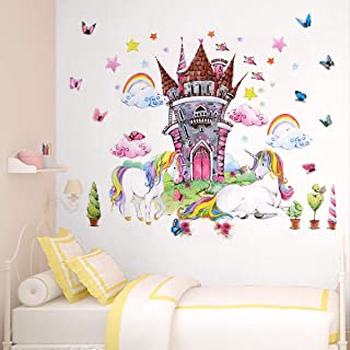 Unicorn Wall Decor Decals Stickers Bedroom Room Nursery for Teen Girls Kids Decorations 4pcs Large Unicorn Castle with 12p...