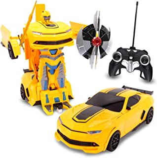 Kids RC Toy Transforming Robot Remote Control (27 MHz) Sports Car One Button Transformation Realistic Engine Sounds 360 Speed Drifting 1:22 Scale Toys For Boys (Yellow)