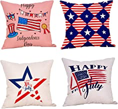 Independence Day Pillow Covers 18x18 4Pcs American Flag Print Throw Pillow Cases Red and White Stripes 4th of July Patriotic Square Washable Durable Pillowcase Freedom Inspired