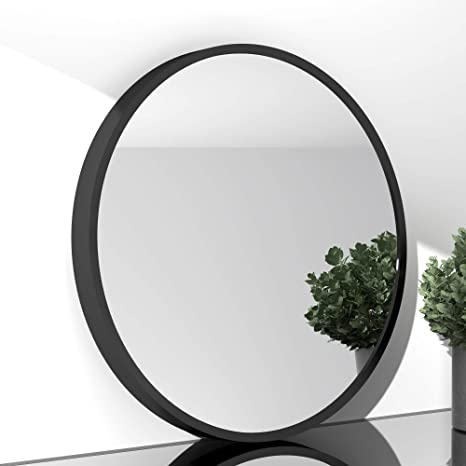 Amazon Com Siersoe Black Round Bathroom Decorative Mirrors Circle 20x20 Metal Frame Double Modern Vanity Bedroom Mirror Circular Farmhouse Rustic Vintage Above Couch Entryway Wall Silver Mirror Home Kitchen