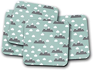 Posavasos verde con diseño de nubes y montañas, posavasos individuales o juego de 4