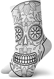 Day Dead Colorful Skull Floral Ornament Mens Athletic Crew Socks Basketball Cushioned Sport Long Compression Socks