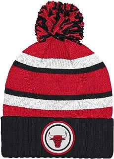 Mitchell & Ness NBA Jersey Stripe Hi Five Knit Hat with Pom