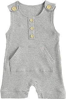 الرضع بلا أكمام رومبير الوليد زر الكتف مضلع قطعة واحدة بذلة للطفل (Color : Gray, Kid Size : 3M)