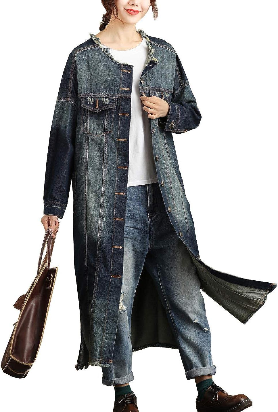 Flygo Women's Loose Fringed Crew Neck Long Denim Jacket Jean Coat