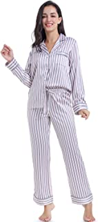Serenedelicacy Women's Silky Satin Pajamas Striped Long Sleeve PJ Set Sleepwear Loungewear